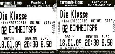 Kinoeintrittskarte: Die Klasse